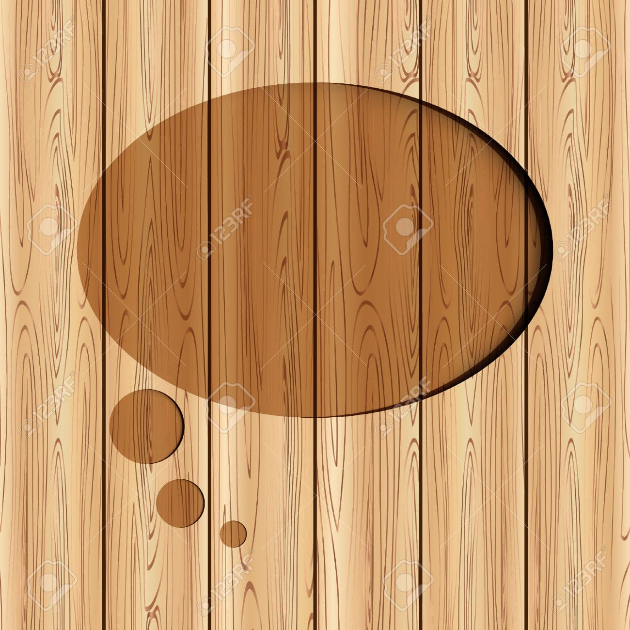abstract speech bubble on wood background can used for template